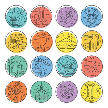 Line icons with Ecuador symbols illustration.