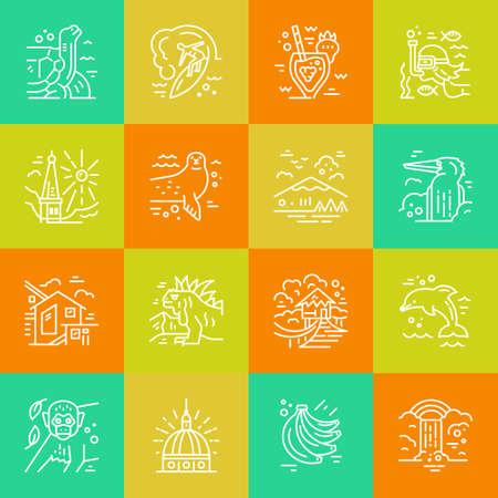 에콰도르 기호 그림 라인 아이콘입니다. 일러스트