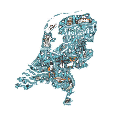 map of netherlands: A Vector illustration of Holland Map.