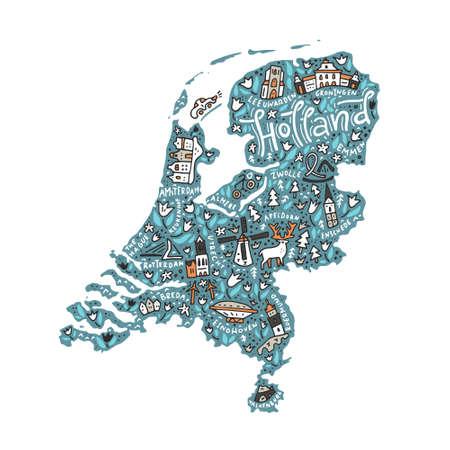 Een Vector illustratie van de kaart van Holland.