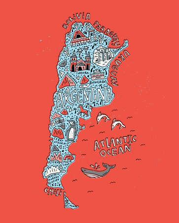 지도 아르헨티나 만든 벡터 일러스트