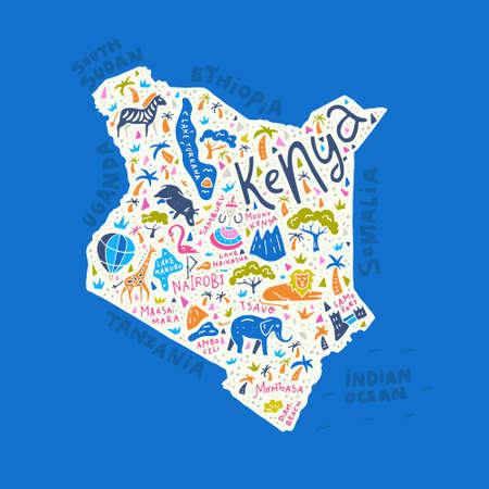 Cartoon kaart van Kenia met dieren, nationale parken en de belangrijkste toeristische attracties. Stock Illustratie
