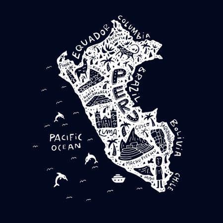 Carte de dessin animé du Pérou. Illustration vectorielle avec tous les principaux symboles du pays. Banque d'images - 82450130