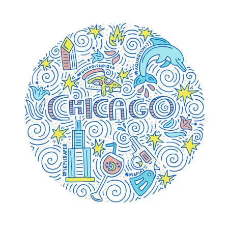 Hand gezeichneten Kreis Konzept von Chicago mit allen Hauptsymbolen dieser Stadt. Vektor-Illustration. Standard-Bild - 82450132