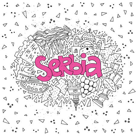 Vector illustration of Serbia. Concept for your design with all main symbols of the country. Ilustração