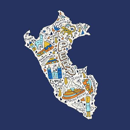 Mapa drenado mano de Perú con los símbolos principales y los nombres geográficos que rotulan. Ilustración del vector. Foto de archivo - 82450137