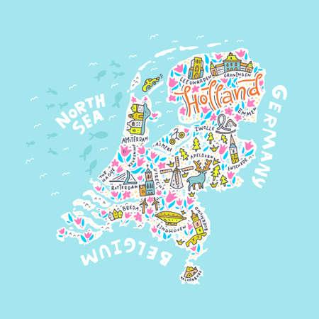 De Holland kaart met de verschillende symbolen en de letters. Vector illustratie.