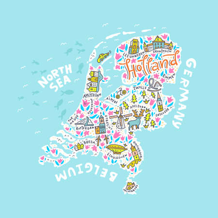The Holland map with the different symbols and the lettering. Vector illustration. Stok Fotoğraf - 82450140