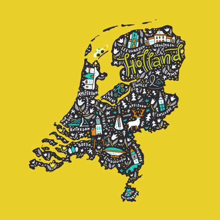 Hand drawn map of Holland. Cartoon illustration made in vector Çizim