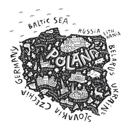 De kaart van Polen met de verschillende geografische namen en de symbolen. Vector illustratie.