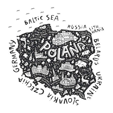 The map of the Poland with the different geographic names lettering and the symbols. Vector illustration.