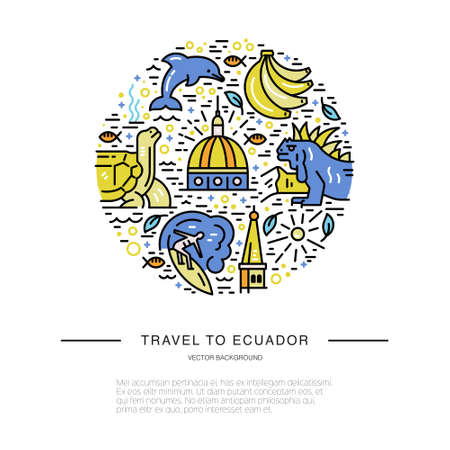 라인 스타일로 만들어진 에콰도르 기호가있는 원