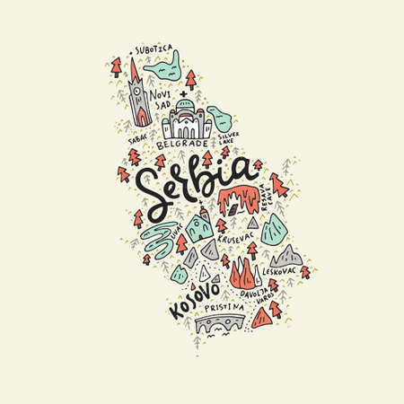 Vector illustration of the map of Serbia made with the captions and landmarks Illusztráció