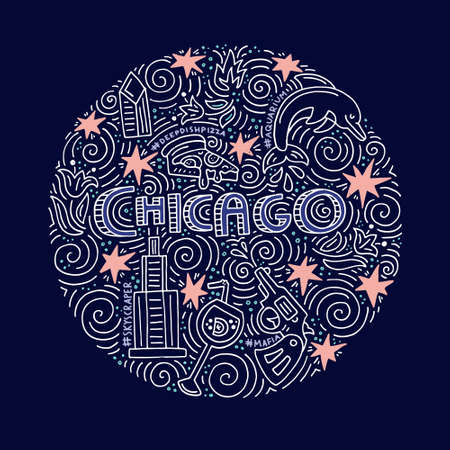 Hand drawn circle concept of Chicago with all main symbols of this city. Vector illustration. Stock Vector - 82438970