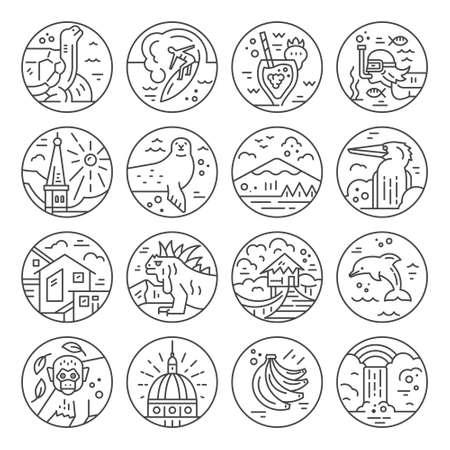 Diversos símbolos de un Ecuador hecho en línea estilo. Iconos del vector. Foto de archivo - 82439144