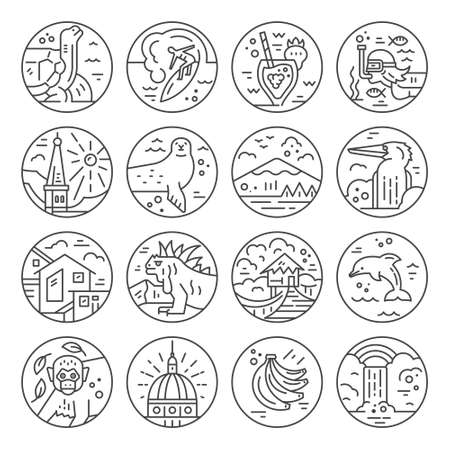 Different symbols of an Ecuador made in line style. Vector icons. Illustration