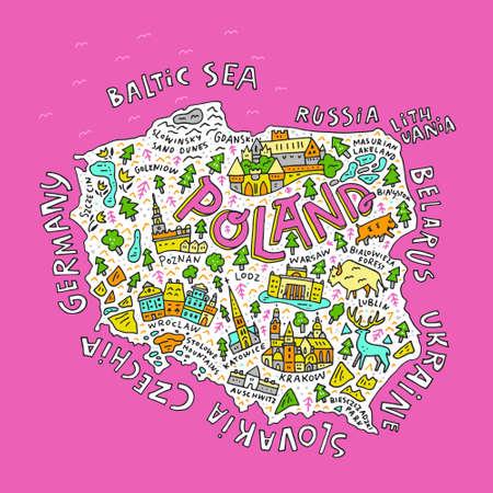 Cartoon kaart van Polen. Hand getrokken illustratie met alle belangrijkste symbolen en belettering. Stock Illustratie