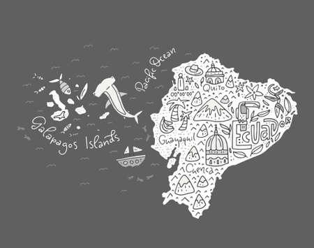 에콰도르와 갈라파고스 제도 - 모든 주요 기호로 손으로 그린 그림의 만화지도. 벡터 아트입니다.