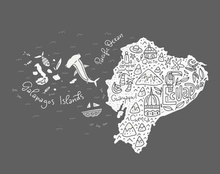 Cartoon map of Ecuador and Galapagos Islands - hand drawn illustration with all main symbols. Vector art. Imagens - 82443177