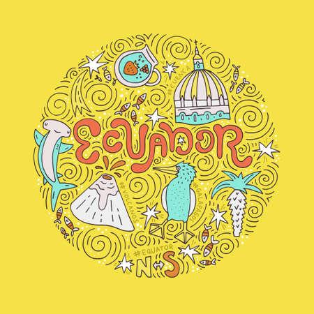 Hand drawn poster of Ecuador. Vector illustration. Ilustrace