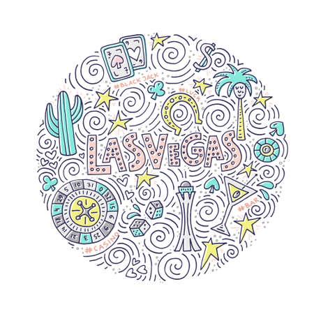 円を描くようにラスベガスのシンボル ベクトル イラストです。