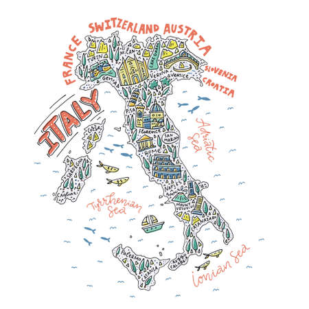 Vector illustration of the cartoon map of the Italy with doodle symbols and lettering. 向量圖像