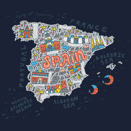 Vector illustration of the cartoon Spain map with the architecture doodle symbols and lettering.
