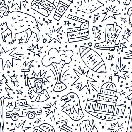 Seamless pattern with symbols of United States of America. Illustration