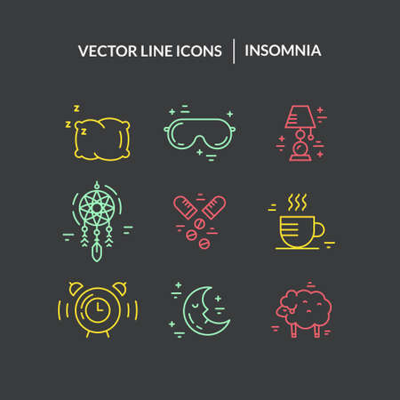 Collection of vector line icons with incomnia symbols. Sleep deprivation pictograms.
