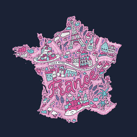 Hand drawn concept - map of France cartoon illustration. Illustration