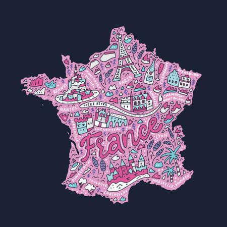 Hand drawn concept - map of France cartoon illustration. Illustration