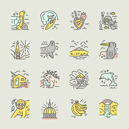 Different symbols of an Ecuador made in line style vector icons.