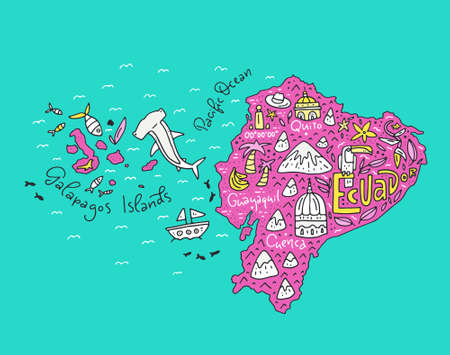 Cartoon map of Ecuador and Galapagos Islands - hand drawn illustration with all main symbols vector art.