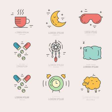 sleeper: Colorful vector icons with different sleep and insomnia symbols including pillow, alarm clock, sleeping mask.