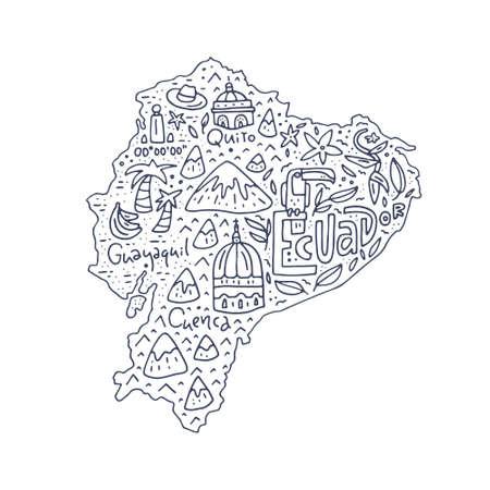 Mapa de la historieta de Ecuador - ilustración dibujada a mano con todos los símbolos principales. Vector art. Foto de archivo - 82805648
