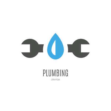Modern flat style logo for plumber or handyman. Plumbing company. House repair. Isolated and easy to use company symbol. Stock Illustratie