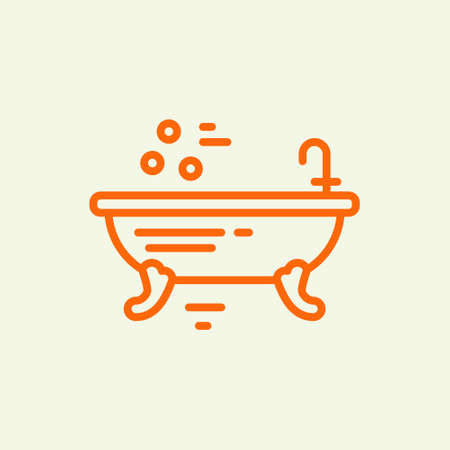 Modern line style illustration of freestanding bathtube - vector design for bath company, spa salon, plumbing service provider. Ilustração