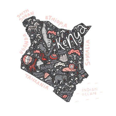 The vector illustration of a Kenya country map with the symbols and  lettering.
