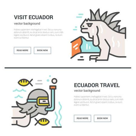 エクアドル ポスター - ベクター チラシ デザインへの旅行します。  イラスト・ベクター素材