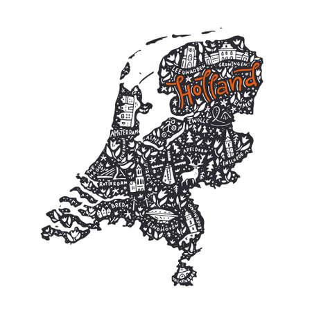 Hand getekende kaart van Holland. Cartoon illustratie gemaakt in vector