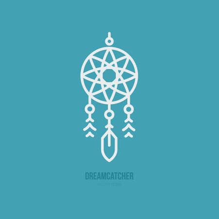 ドリーム キャッチャーのシンプルなグラフィカルなイラスト。インドのシンボル。ベクター線のスタイル。