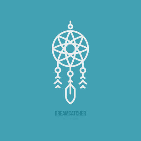 Simple graphical illustration of dream catcher. Indian symbol. Vector line style. Illustration