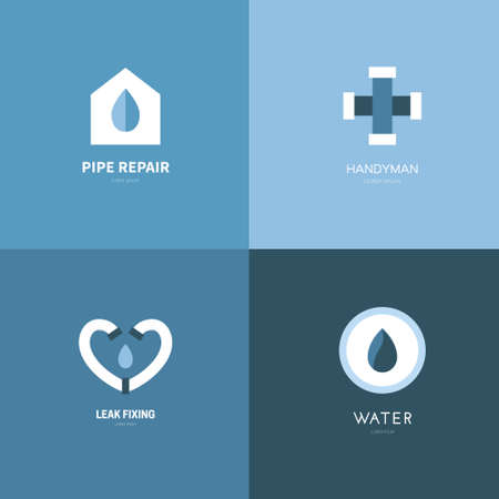 Plumbing logo collection made in flat style vector 向量圖像