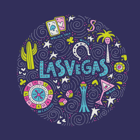 Hand drawn vector illustration of a Las Vegas symbols Imagens - 83094195