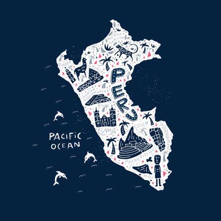 ペルーの漫画のマップ。国のすべての主要なシンボルのベクター イラスト。