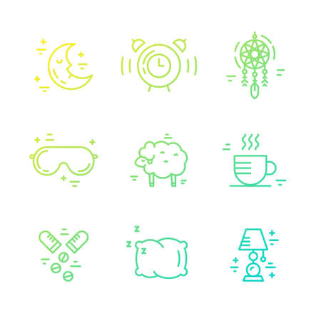 Modern linear style vector collection of icons on sleep problems and incomnia.