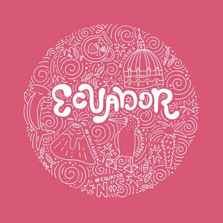 에콰도르의 손으로 그려진 된 포스터입니다. 벡터 일러스트 레이 션.
