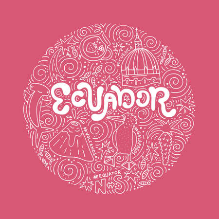 Hand drawn poster of Ecuador. Vector illustration. Stock Vector - 83094203