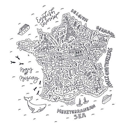 A Vector illustration of the cartoon map of France with doodle symbols and lettering. Illustration
