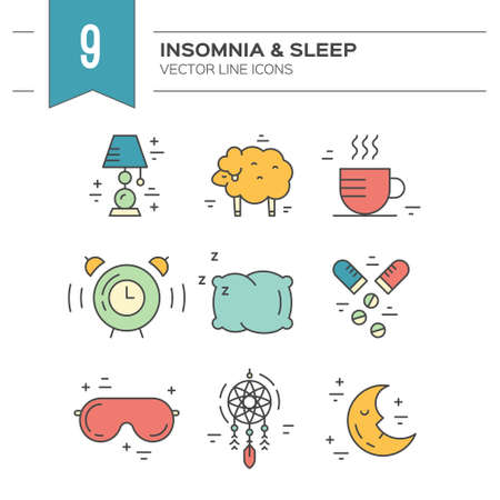 A Vector icon collection on insomnia and sleep problems.